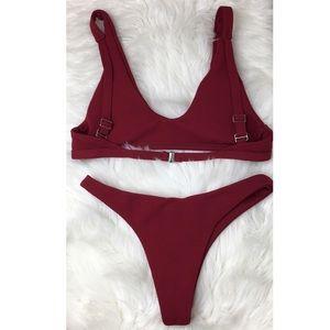 SHEIN Swim - Shein Bikini Swimsuit Medium Red Textured NWOT